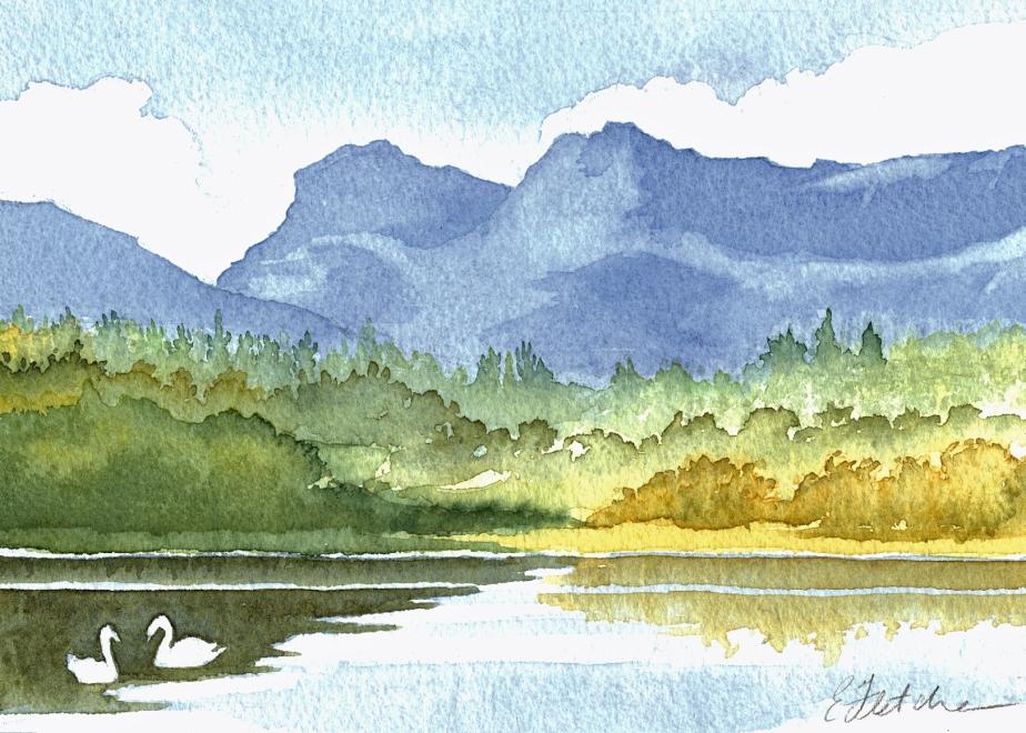 Watercolour Loughrigg Tarn