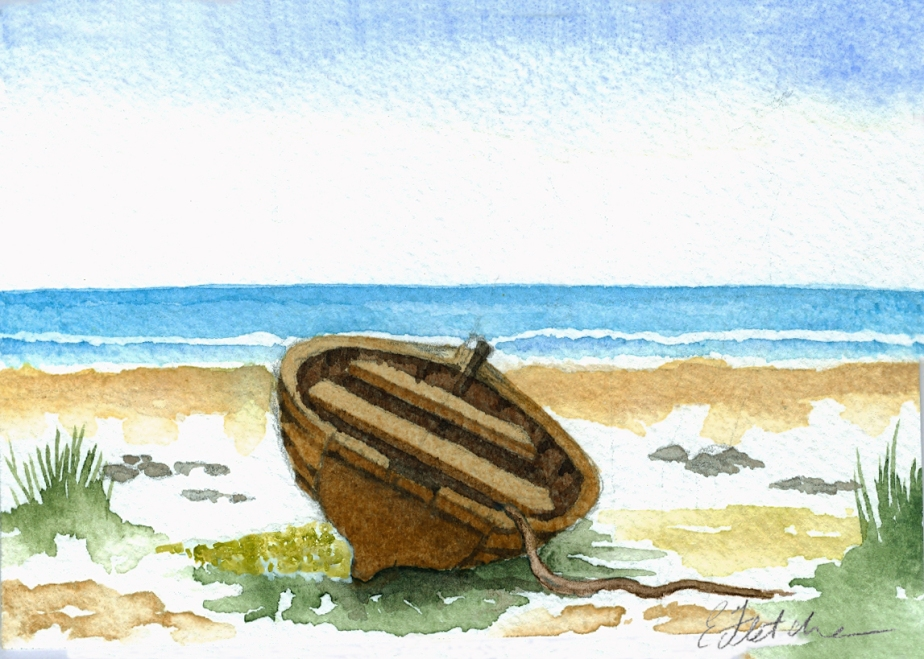 Watercolour row boat