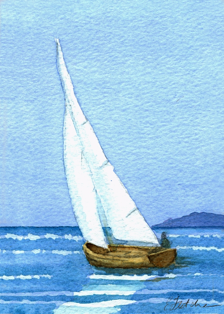 Watercolour sail boat
