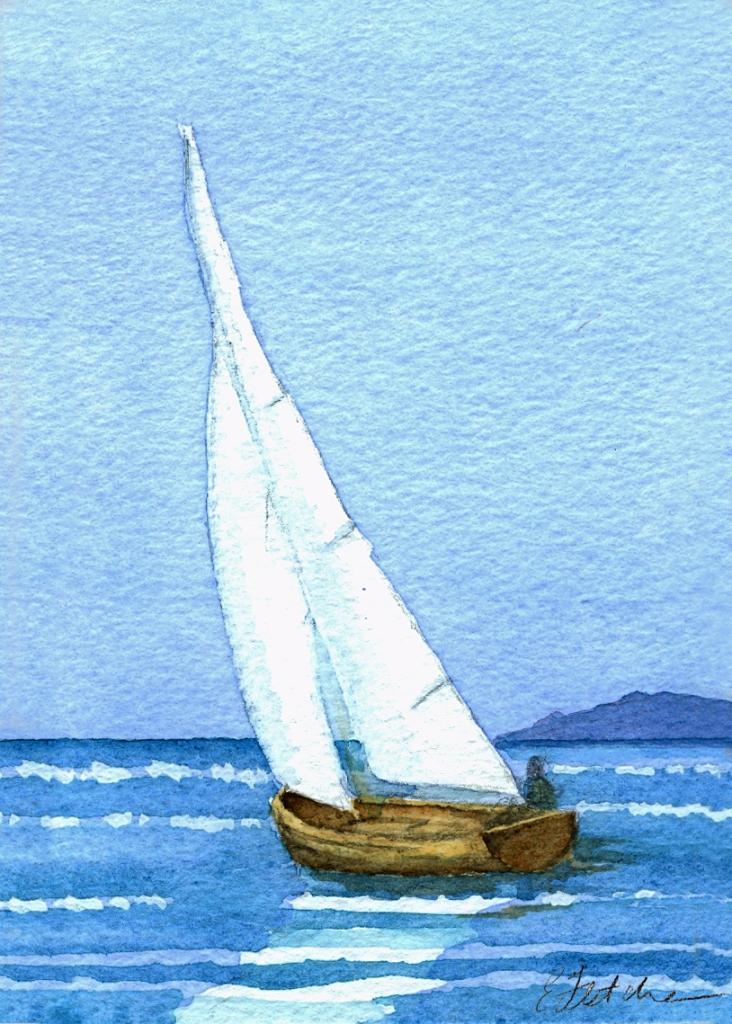 Watercolour sail boat